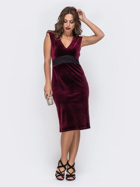 Платье из велюра с вырезом по спинке и фатином бордовое 42849, фото 1