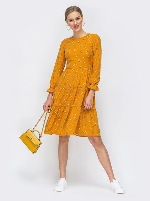 Желтое платье с принтом и расклешенной юбкой 45754, фото 1
