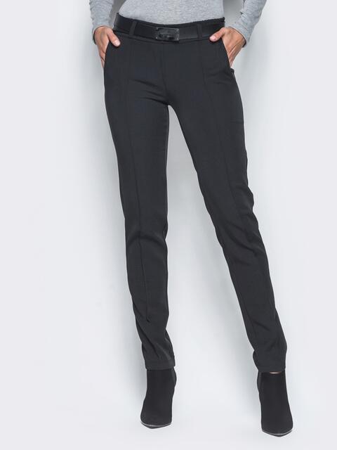 Черные брюки с отстроченными стрелками 15722, фото 1