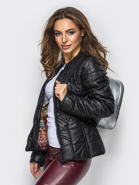 Демисезонная куртка черного цвета без воротника 15154, фото 1