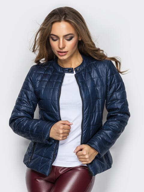 Демисезонная куртка тёмно-синего цвета без воротника 15155, фото 1