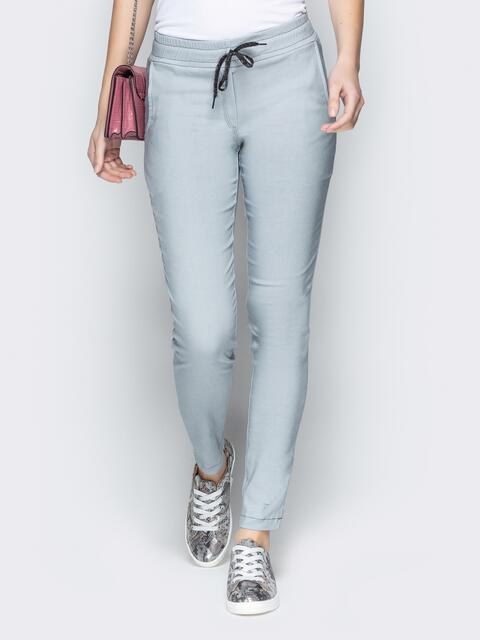 Серые брюки с резинкой по талии и прорезными карманами 21060, фото 1