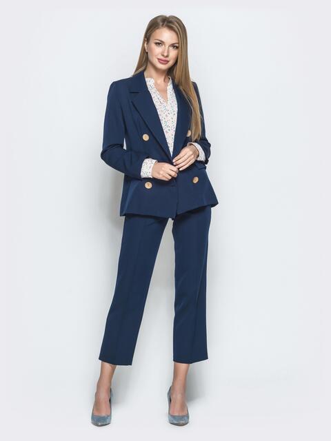 Тёмно-синий костюм из жакета и укороченных брюк 39982, фото 1