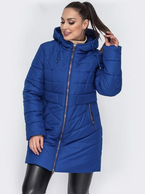 Зимняя куртка приталенного кроя синяя 44057, фото 1