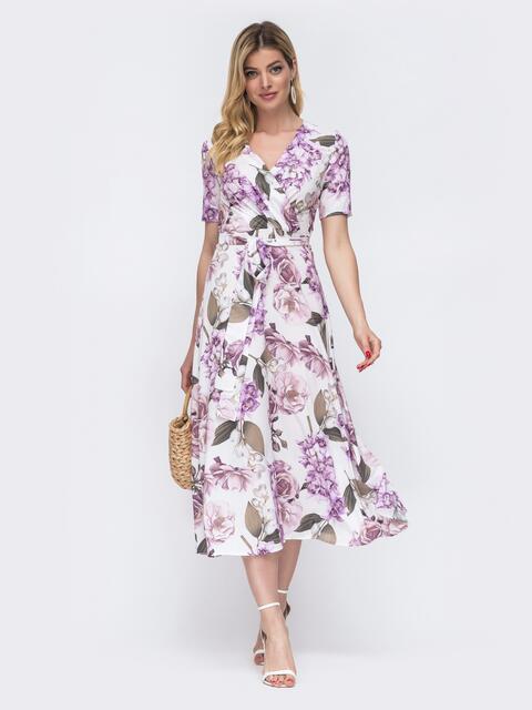 Белое платье с цветочным принтом и лифом на запах 48536, фото 1