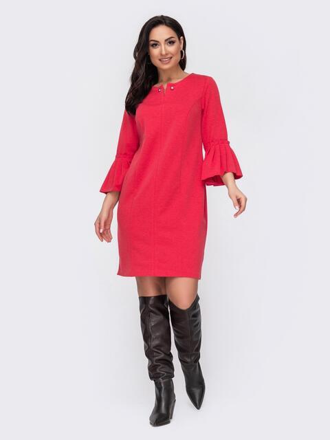 Красное платье батал с широким воланом на рукавах  52728, фото 1