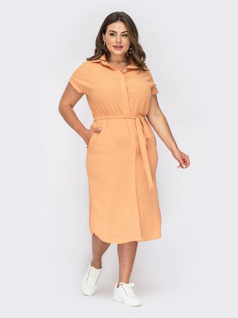 Оранжевое платье-рубашка большого размера с разрезами 54012, фото 1