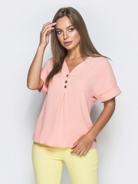 Розовая блузка из крепа с цельнокроеным рукавом 38414, фото 1