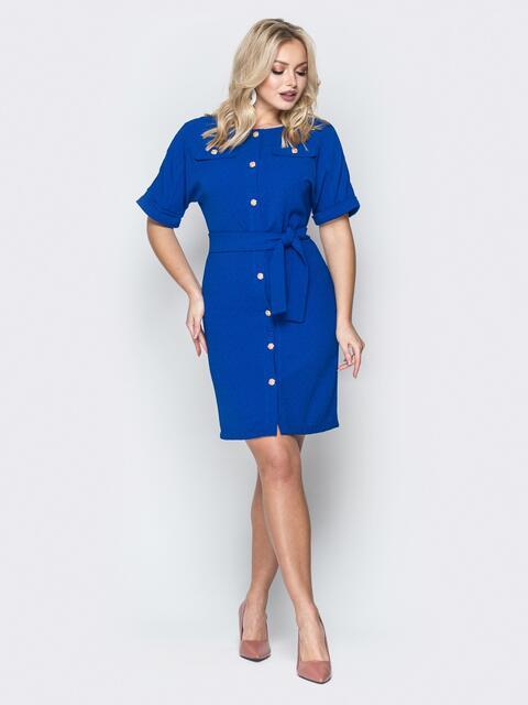 Синее платье-рубашка с цельнокроеным рукавом 19380, фото 1