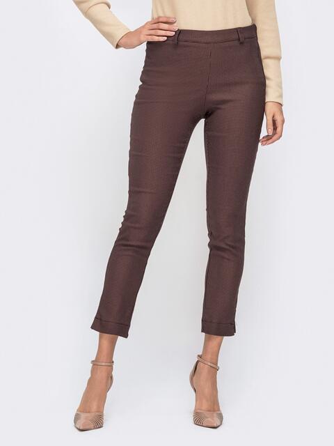 """Укороченные брюки с принтом """"гусиная лапка"""" коричневые 41540, фото 1"""