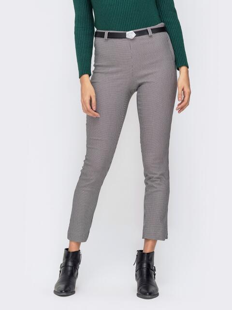 """Укороченные брюки с принтом """"гусиная лапка"""" серые 41538, фото 1"""