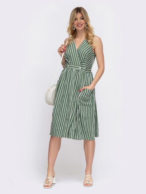Зёленое платье на запах в узкую полосу  48049, фото 1