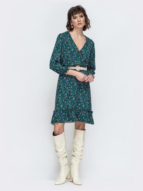 Зеленое платье с принтом и воланом по низу 45066, фото 1