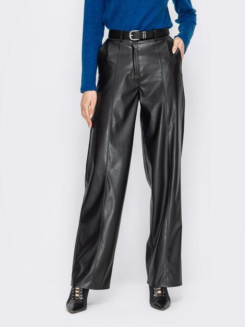 Черные брюки прямого кроя из экокожи 53315, фото 1