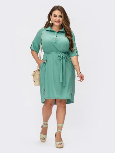 Платье-рубашка из софта большого размера зеленое 53952, фото 1