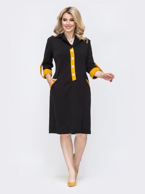 Приталенное платье батал со шлевками на рукавах чёрное 49821, фото 1