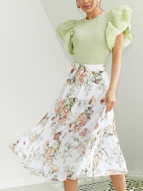 Шифоновая юбка-миди с цветочным принтом белая 53878, фото 1