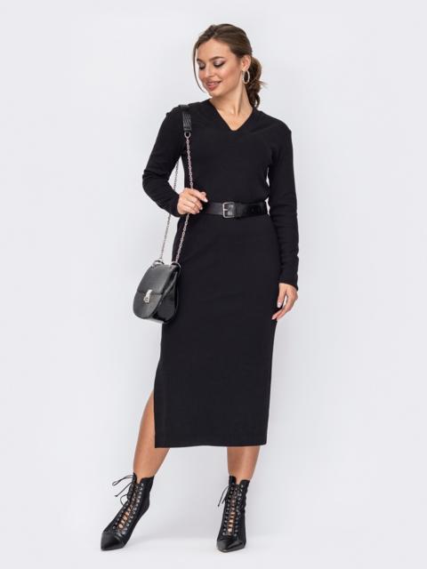 Чёрное платье приталенного кроя с V-образным вырезом 51966, фото 1