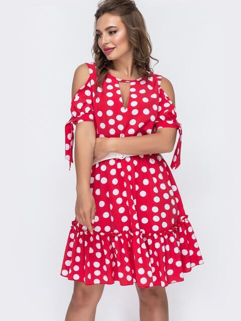 Красное платье в горох с фигурным вырезом и резинкой по талии 48073, фото 1