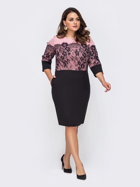 Приталенное платье батал с кружевными вставками розовое 51318, фото 1