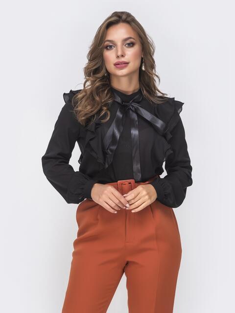 Шифоновая блузка с воротником-аскот и рюшами чёрная 41603, фото 1