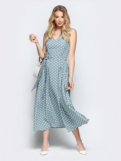 Силуэтное платье голубого цвета в горох 46850, фото 1
