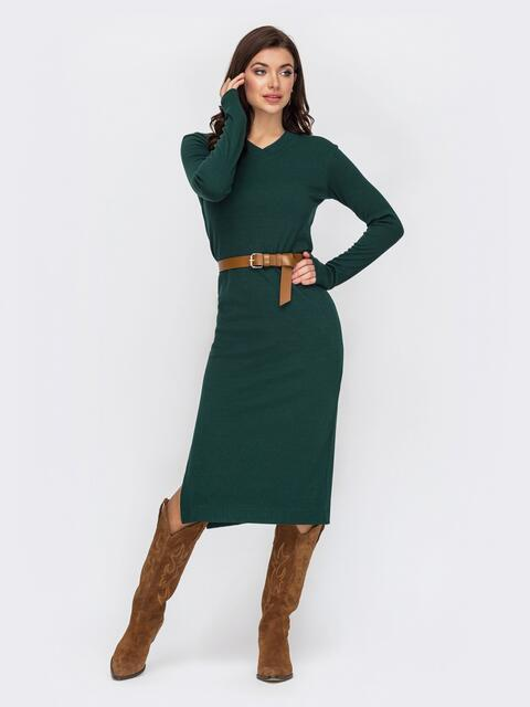 Зеленое платье прямого кроя с V-образным вырезом 51968, фото 1