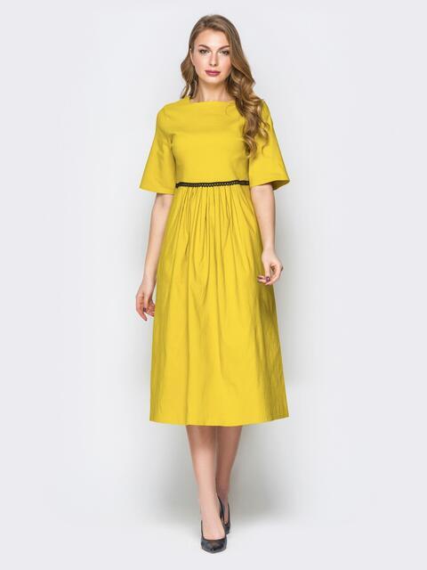 Жёлтое платье с завышеной талией и рукавом-колокол 19812, фото 1