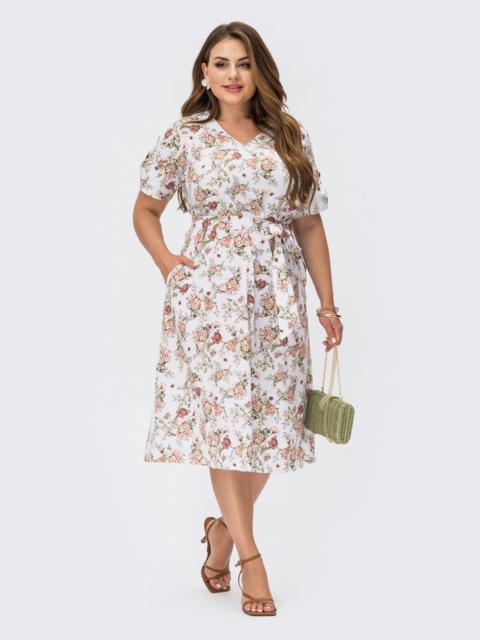 Белое платье батал с принтом и юбкой-трапецией 54463, фото 1