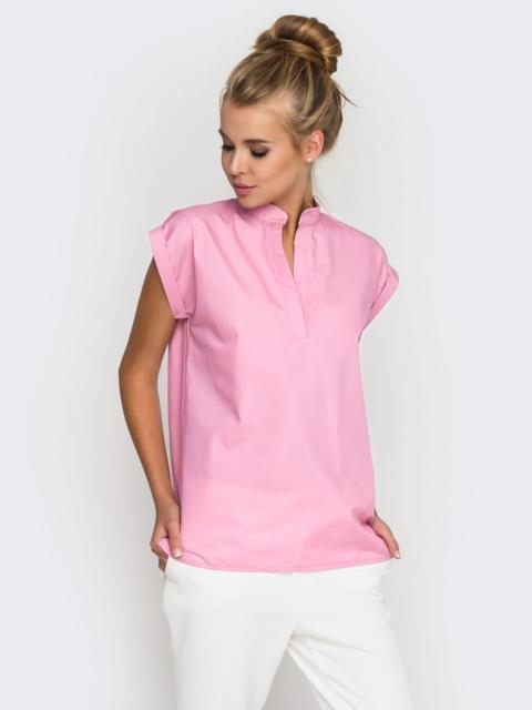 Хлопковая блузка прямого кроя розовая 38730, фото 1