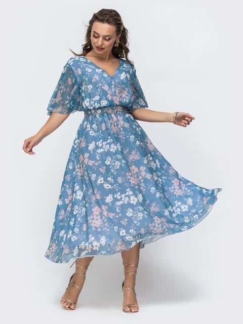Платье из шифона с принтом и вырезом по спинке голубое 46825, фото 1