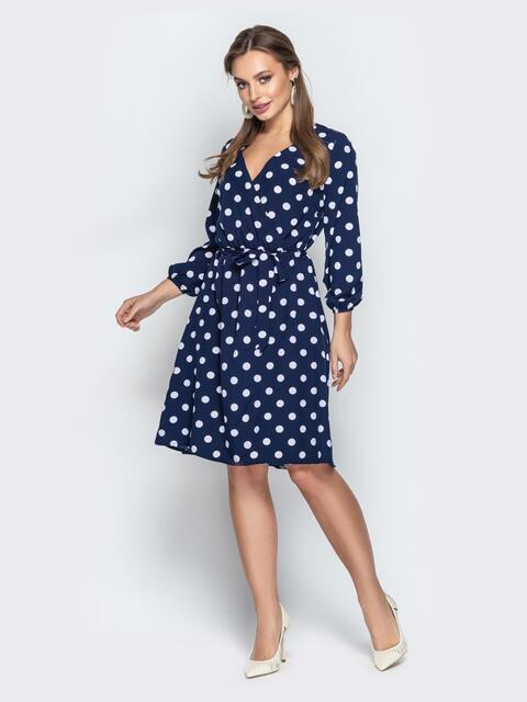 Тёмно-синее платье в горох с запахом и рукавами на резинке 21000, фото 1