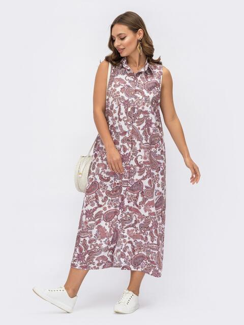 """Платье-рубашка с принтом """"турецкие огурцы"""" бордового цвета 54164, фото 1"""