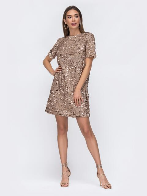 Платье бежевого цвета с пайетками 42641, фото 1