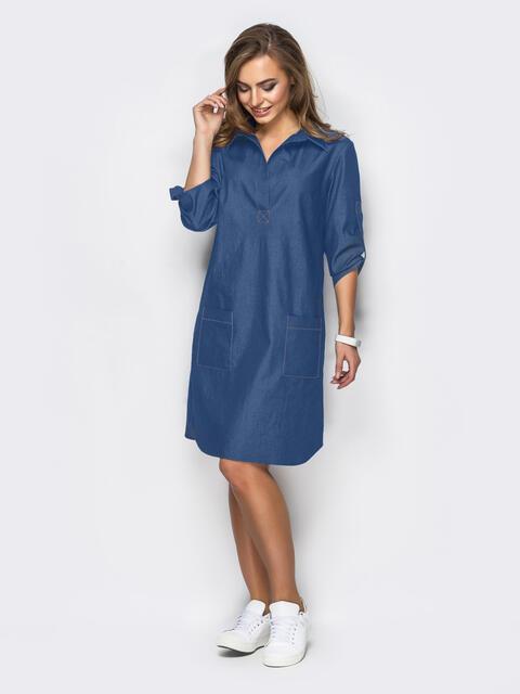 Платье из облегчённого денима синего цвета 48742, фото 1