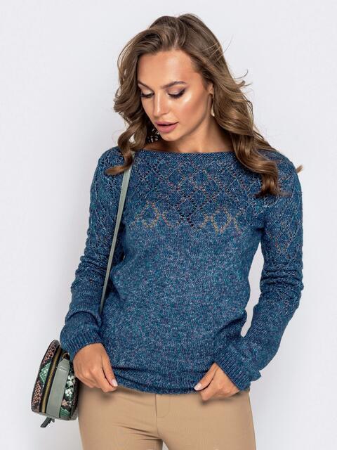 Синий свитер с ажурной вязкой по кокетке 41170, фото 1