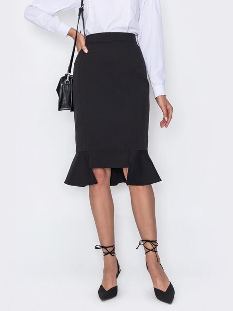 Чёрная юбка-карандаш с оборкой по низу 49688, фото 1
