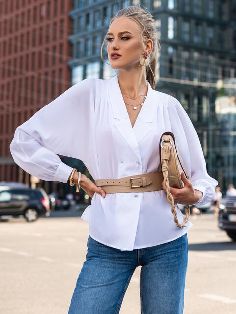 "Двубортная блузка с рукавом ""летучая мышь"" белая 49687, фото 1"