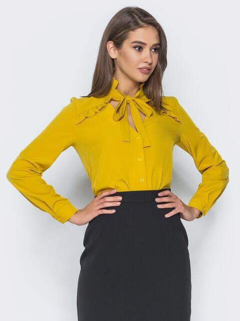 Желтая блузка с лентой на воротнике, переходящей в бант 14309, фото 1