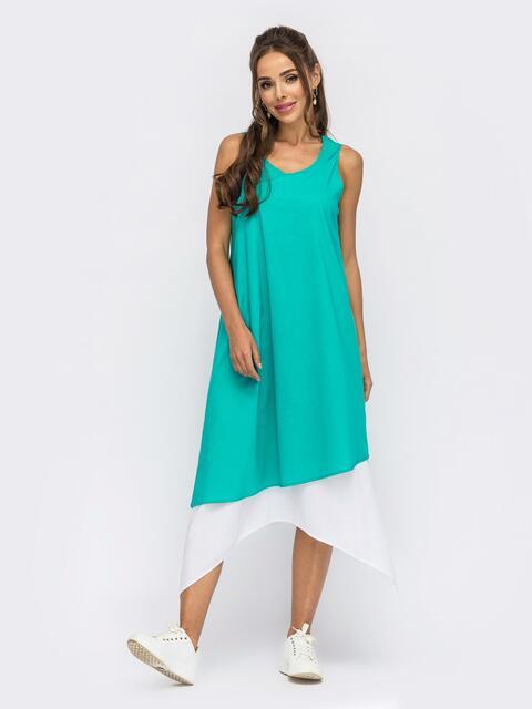 Двухслойное платье-трапеция из хлопка бирюзовое 53861, фото 1