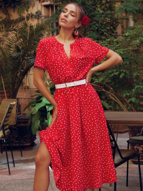 Красное платье в горох с коротким рукавом и расклешенной юбкой 54473, фото 1