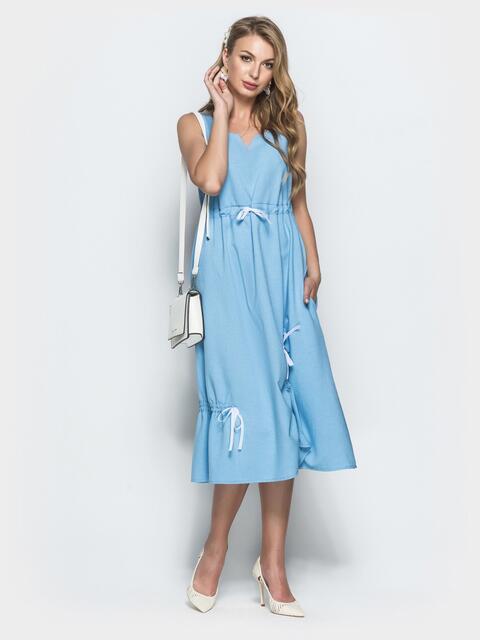 Льняное платье голубого цвета 39696, фото 1