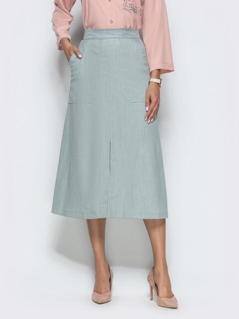 Юбка-трапеция мятного цвета с накладными карманами 39811, фото 1