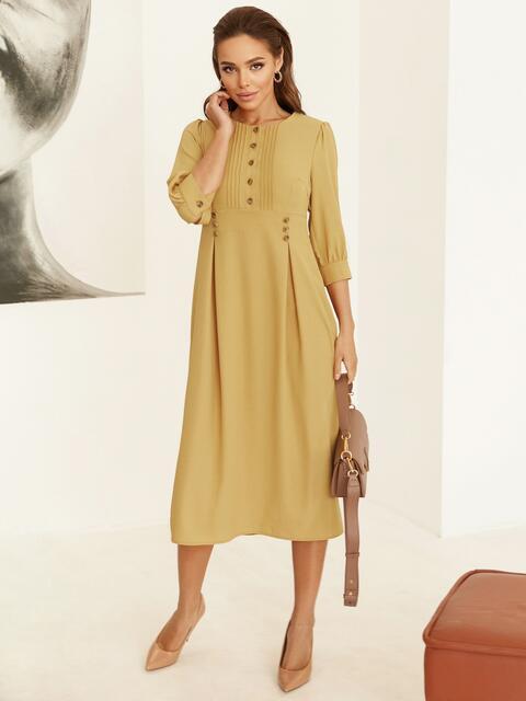Платье с завышенной талией и юбкой со складками жёлтое 53052, фото 1