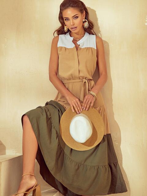 Расклешенное платье-макси с воротником-стойкой бежевое 53794, фото 1