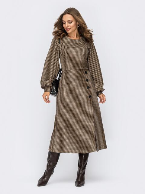 Бежевое платье из жаккарда с разрезом и пуговицами спереди 55292, фото 1