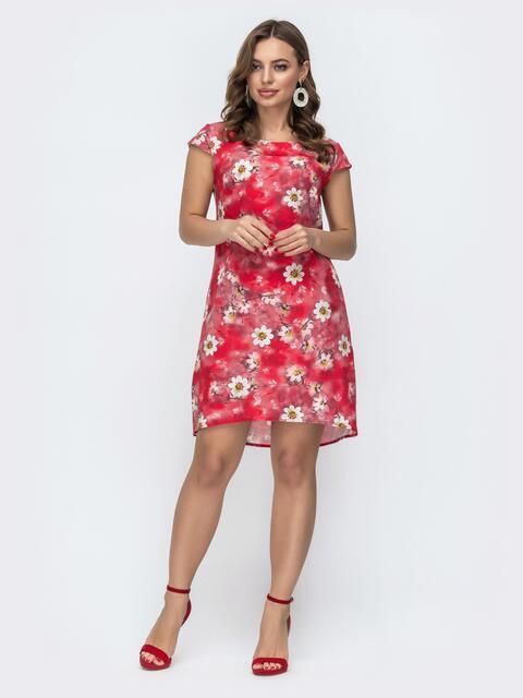 Красное платье свободного кроя с цветочным принтом 46945, фото 1