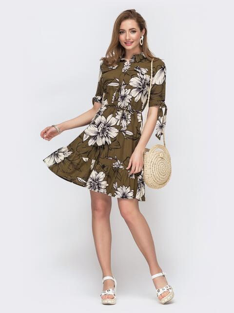 Льняное платье с принтом и резинкой по талии хаки 46606, фото 1