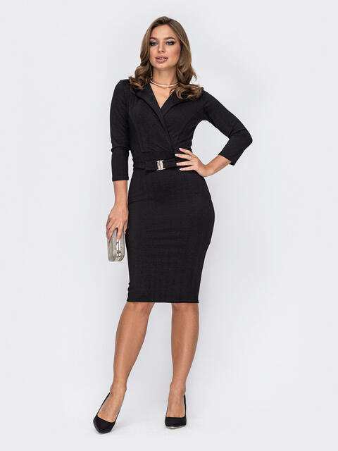 Обтягивающее платье из креп-дайвинга с напылением чёрное 52093, фото 1