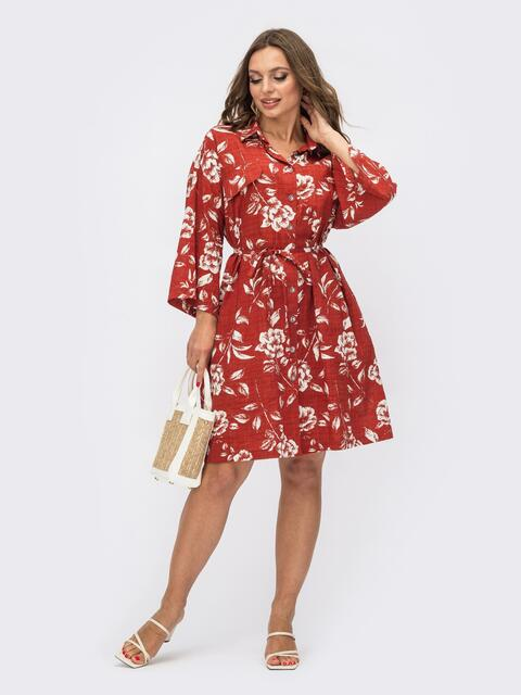Принтованное платье-рубашка терракотового цвета на пуговицах 54118, фото 1